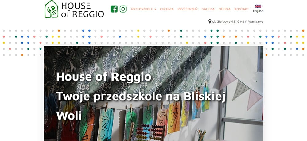 strona internetowa House of Reggio - portfolio Finepages